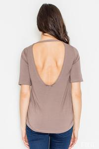 Brown Classic Style Cut Out Back T-shirt
