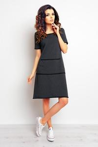 Dark Grey Sport Style Dress with Pockets