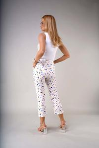 7/8 Material Pants with Straight Legs - Colorful Spots