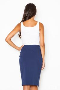 Blue Kneelenght Skirt with Asymmetrical Slit
