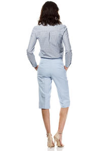 Light Blue Wide Cut Leg Cropped Length Loose Fit Pants