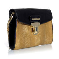 Elegant Shoulder Gold/Black Bag With Gold Chain Monnari