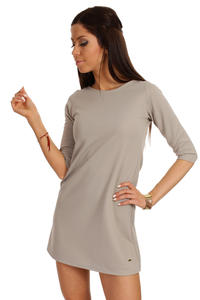 Ashen Shift Dress with Metallic Emblem