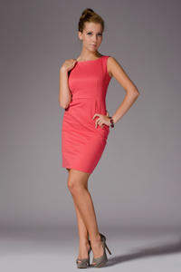Coral Bateau Neck Seam Shift Slit Dress