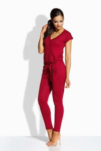 Dark Red V-Neckline Self-Tie Belt Jumpsuit