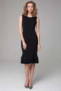 Black Coctail Midi Dress with Frills