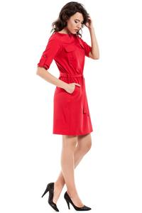 Red Casual Rolled-up Sleeves Mini Dress