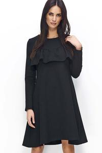 Black Flared Dress with a Frill