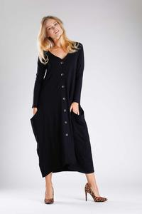 Black Knitted Midi Dress Buttoned