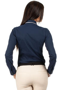 Dark Blue Dapple Collar Office Shirt