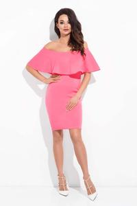 Pink Bodycon Dress with Spain Style Neckline