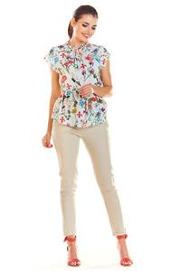 Ecru Stylish Blouse with a Floral Print