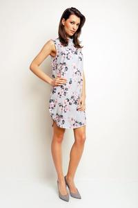 Blue Floral Pattern Sleeveless Tourtleneck Mini Dress