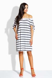 Navy Blue&White Striped Offshoulders Casual Dress