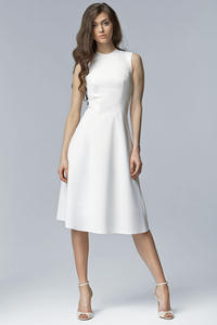 Off White Seam Midi Dress with High Neckline