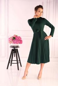 Dark green pleated dress with built-in neckline