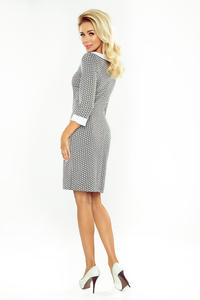 Grey&White Diamonds Pattern Mini Dress with White Collar