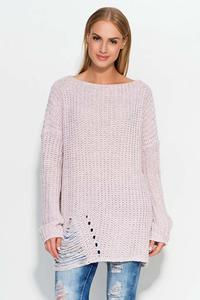 Pink Oversized Sweater with Trendy Holes