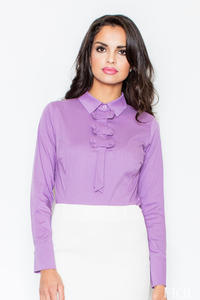 Petite Collared Vintage Bow Neck Light Purple Shirt