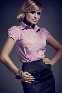 Purple Collared Blouse with Pleated Cap Sleeves