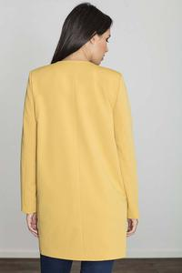 Yellow Round Neckline Open Ladies Blazer