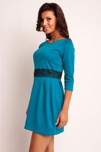 Blue Mini 3/4 Sleeves Lace Waist Dress