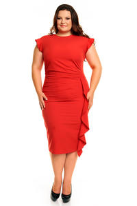 Red Elegant Prom Dress with Frill PLUS SIZE