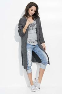 Dark Grey Long Loose Lapels Cardigan