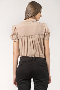 Beige Bow Neckline Pleated Back Chiffon Blouse