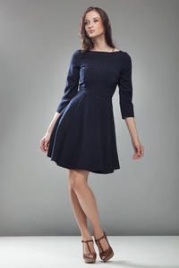 Blue High Elegance Workwear Skater Dress
