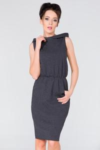 Dark Grey Hooded Sport Style Knee Length Dress