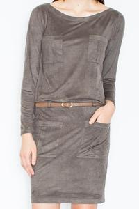 Olive Green Office Style Dress with Pockets