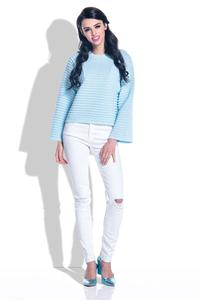 Light Blue Short Sweater with Wide Sleeves