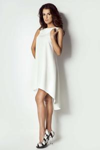 Ecru Asymetrical Coctail Dress