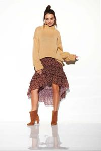 Camel Oversize Warm Turtleneck Sweater