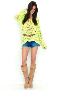 Yellow Oversize Openwork Sweater
