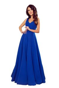 Cornflower Long Flared Dress with V-neck