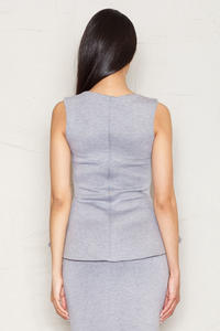 Flecked Grey Peplum Blouse with Back Zipper Fastening