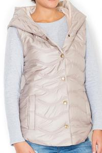 Beige Hooded Padded Snaps Closure Vest Jacket