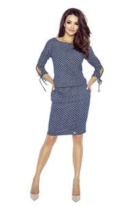 Comfy Dotty Mini Spring Dress - Navy Blue