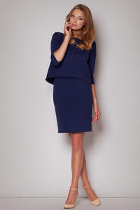 Subtle Flecked Overlay Navy Blue Dress with Asymmetrical Top