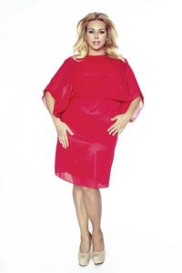 Red Elegant Coctail Dress with Chiffon PLUS SIZE