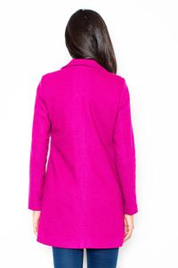Pink Short Woolen Coat with Asymetrical Zip Closure