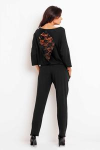 Black Lace Back Long Jumpsuit