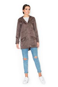 Brown Zipp&Snaps Closure Parka Jacket