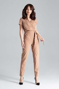 Brown Elegant Suit with Envelope Neckline