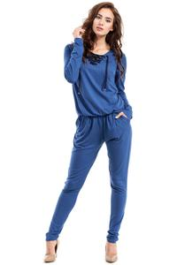 Blue Lace-up Front Jumpsuit