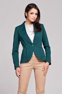 Green Long Lapel Single Button Closure Blazer for Women