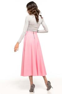 Pink Flared High Waist Skirt