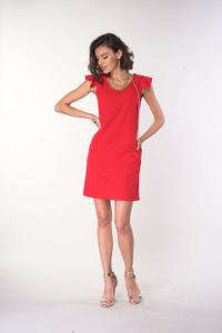 Red Simple Dress with Ruffles on Shoulders
